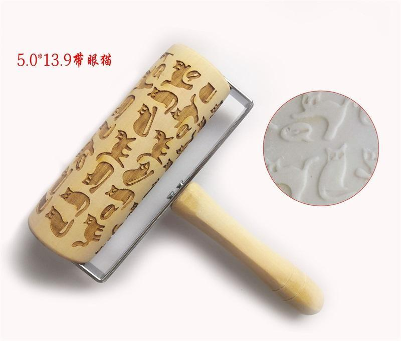 Embossing Rolling Pin Birch Kitchen Utensils Laser Engraving Wooden No Paint Kitchenware Unicorn Durable Solid Colour 9ml O2