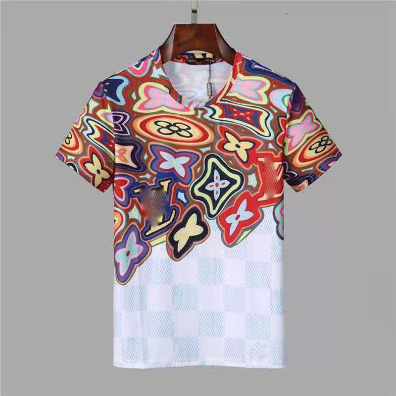 20ss flower T-shirt fashionable breathable quick dry summer casual T-shirt hip hop Men street personality short sleeve hfhltx024