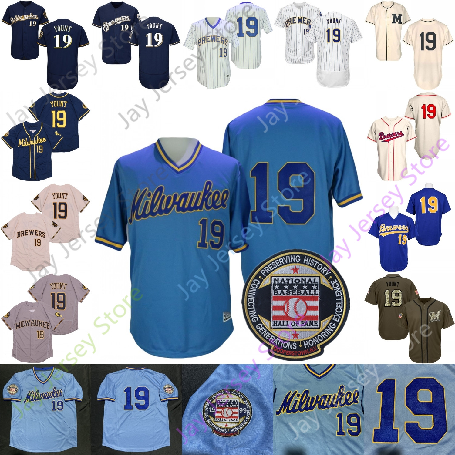 Robin Yount Jersey Hall Of Fame Patch 1982 White Pinstripe Salute to Service Blue Mesh BP Cooperstown White Pinstripe Cream Red Navy Player I II