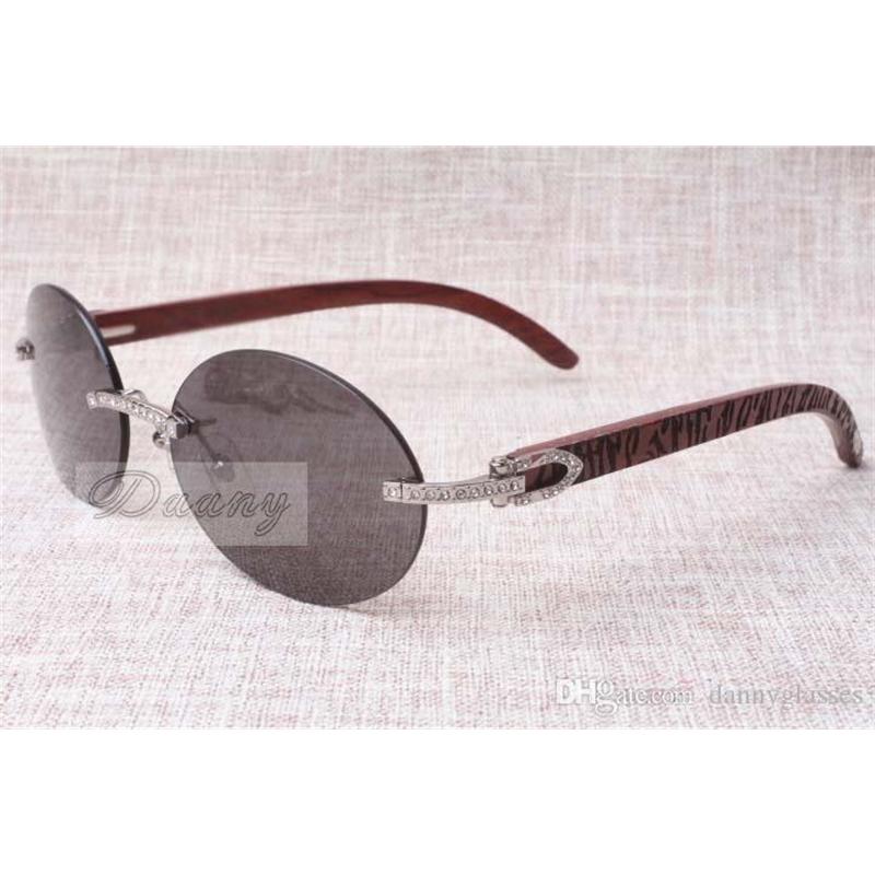 New Round Fashion Retro Comfort Diamond Sunglasses T8100903 Natural Check Pattern Mirror Leg Sunglasses Best Quality Glasses Size: 58-18-135