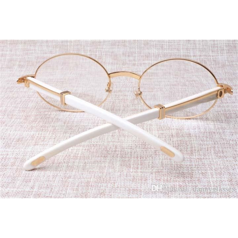 Factory direct high-quality round eyeglasses quality goods 7550178 white buffalo horn spectacles popular glasses Size: 57-22-135 mm