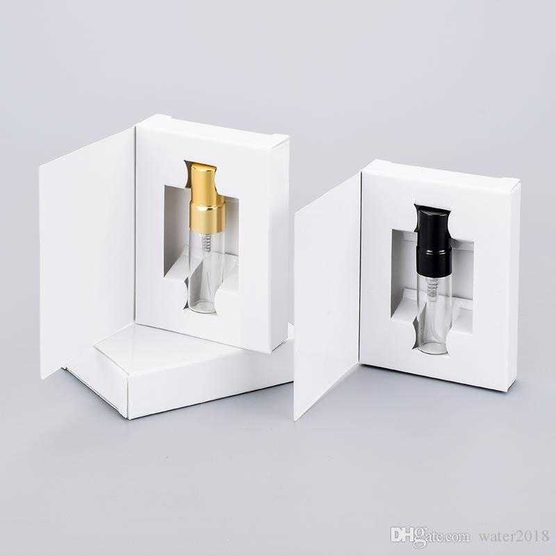 Perfume Spray Bottle 3ML Paper Boxes Glass Perfume Bottle With Atomizer Empty Parfum Packing Free DHL