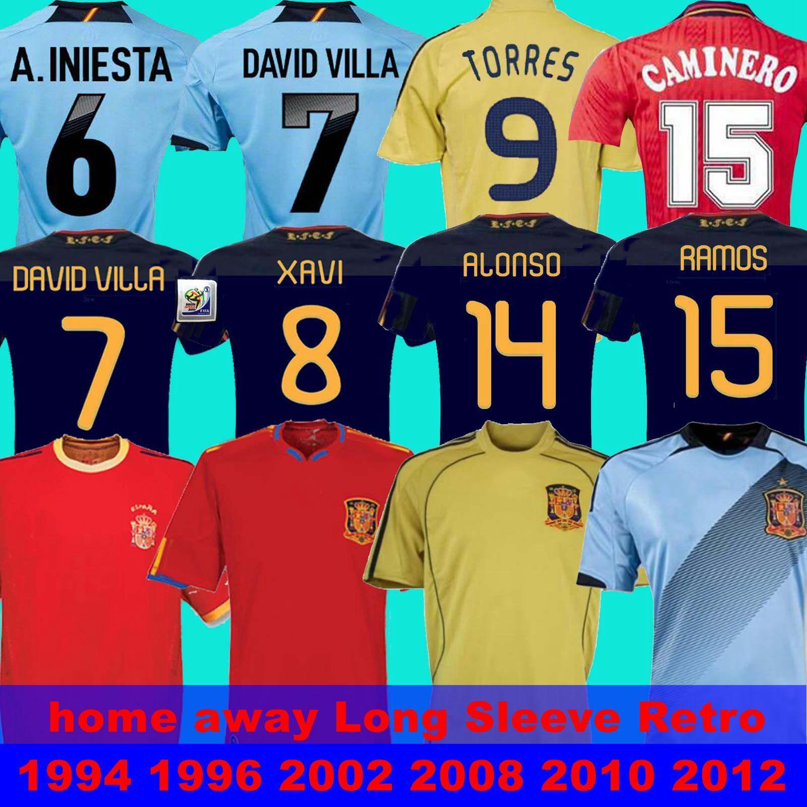 final 2010 Spain retro jersey 1994 1996 2002 2008 2012 Spain RAUL XAVI LUIS ENSRIQUE ALONSO Spain Player Long Sleeve Retro DAVAD David Villa