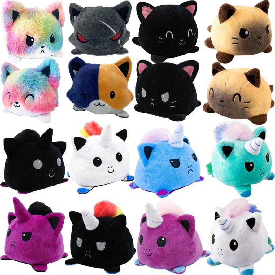 Reversible Cat unicorn plush stuffed toy for plush animal plush animal double-sided flip doll cute Toys For Girl Gift