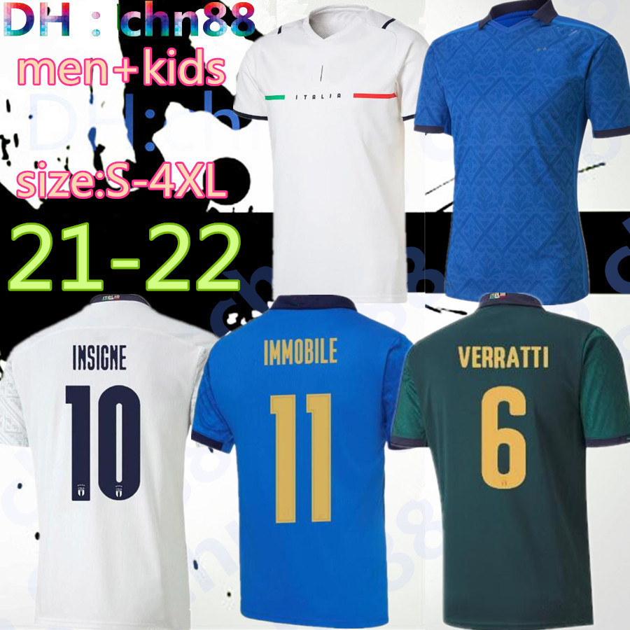 size:S-4XL 20 21 ITALY soccer Jerseys 2020 2021 uropean Cup national team Italy BONUCCI IMMOBILE INSIGNE kits men kids Football jersey shirt