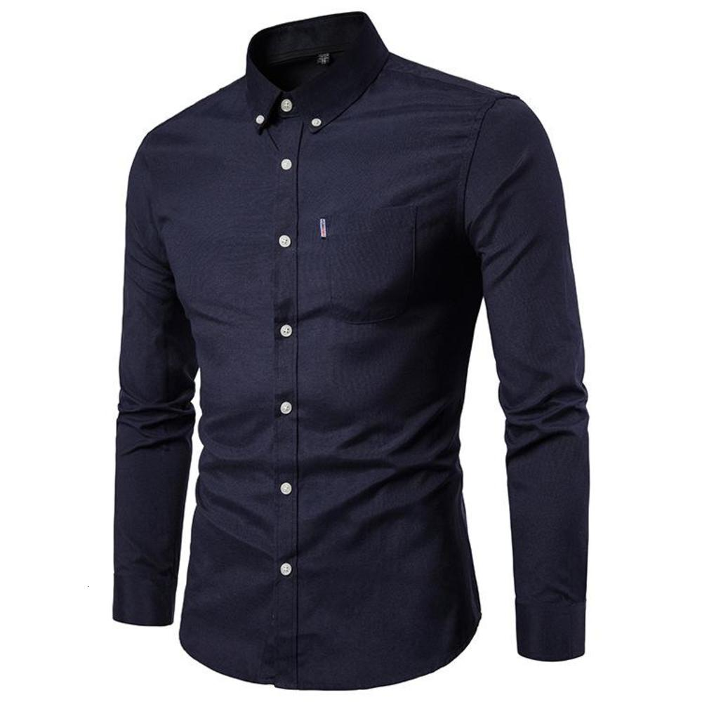 Mens Oxford Dress Shirts Long Sleeve New Arrival Slim Fit Shirt Male Business Casual with Pockets