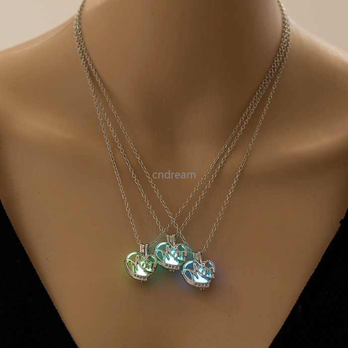 Heart Mom Necklace Glow In The Dark Blue Green Fluorescence Locket Necklaces Cage Pendant for Women Girls Fashion Jewelry Will and Sandy