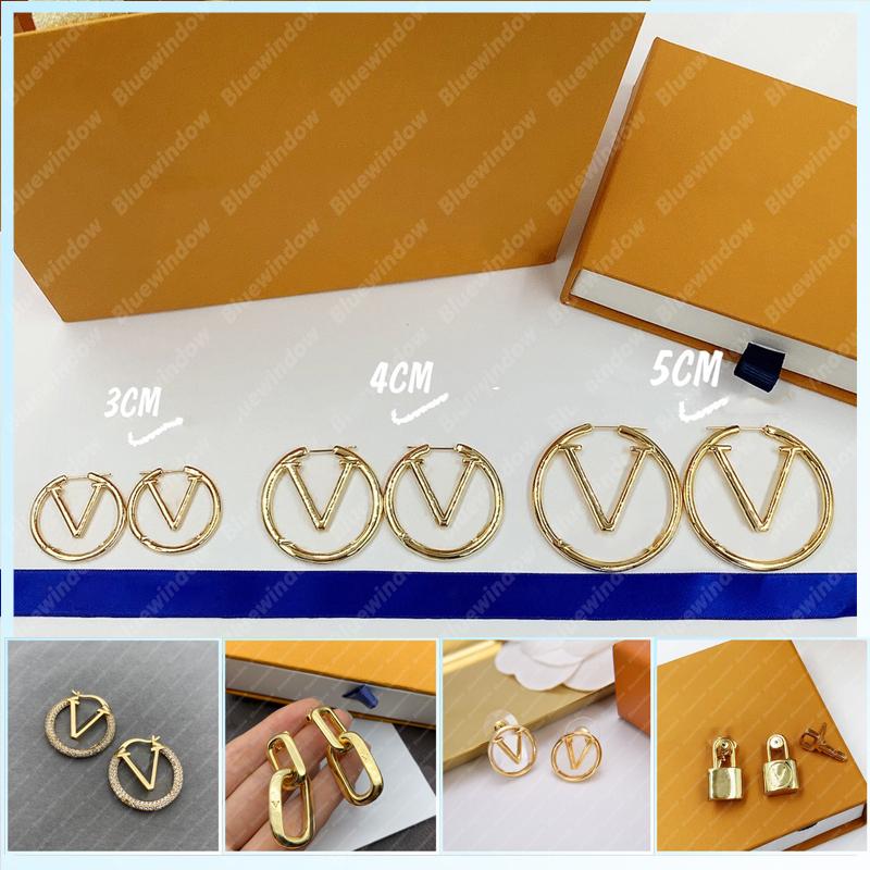 Women Earrings Designer Earring V Earings Fashion Gold Jewelry Designer Accessories Womens Luxury Designers Earrings Studs Boucles B2108122L