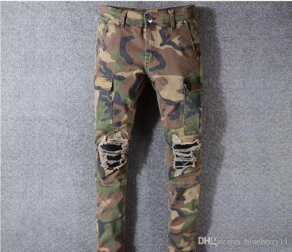 Camo Jeans New Summer Fashion Mens Ripped Biker Casual Pants Hip Hop Jeans for Jeans Denim Long Pants