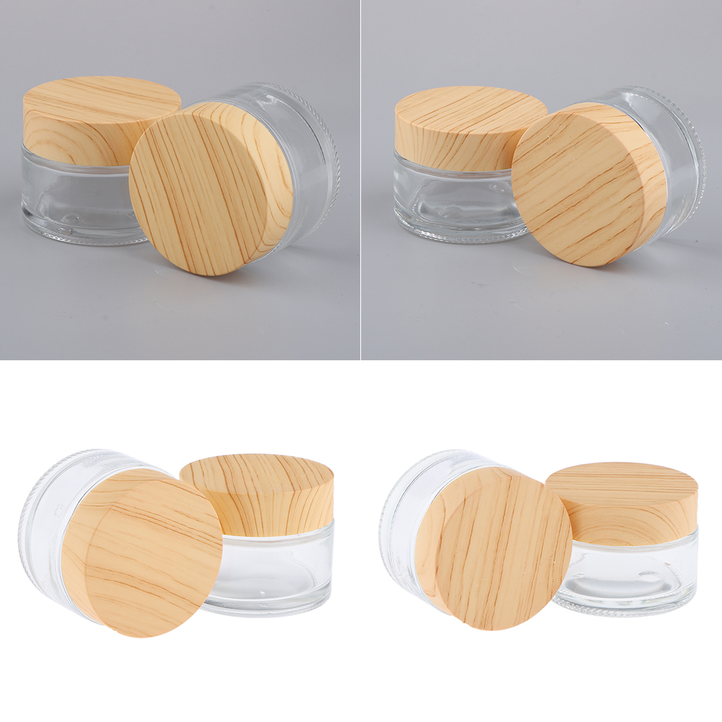 4pcs Round Glass Empty Jars Pot with White Inner Liners & Lids, Prefect for Cosmetics Face Cream Lotion Container, 30g and 50g