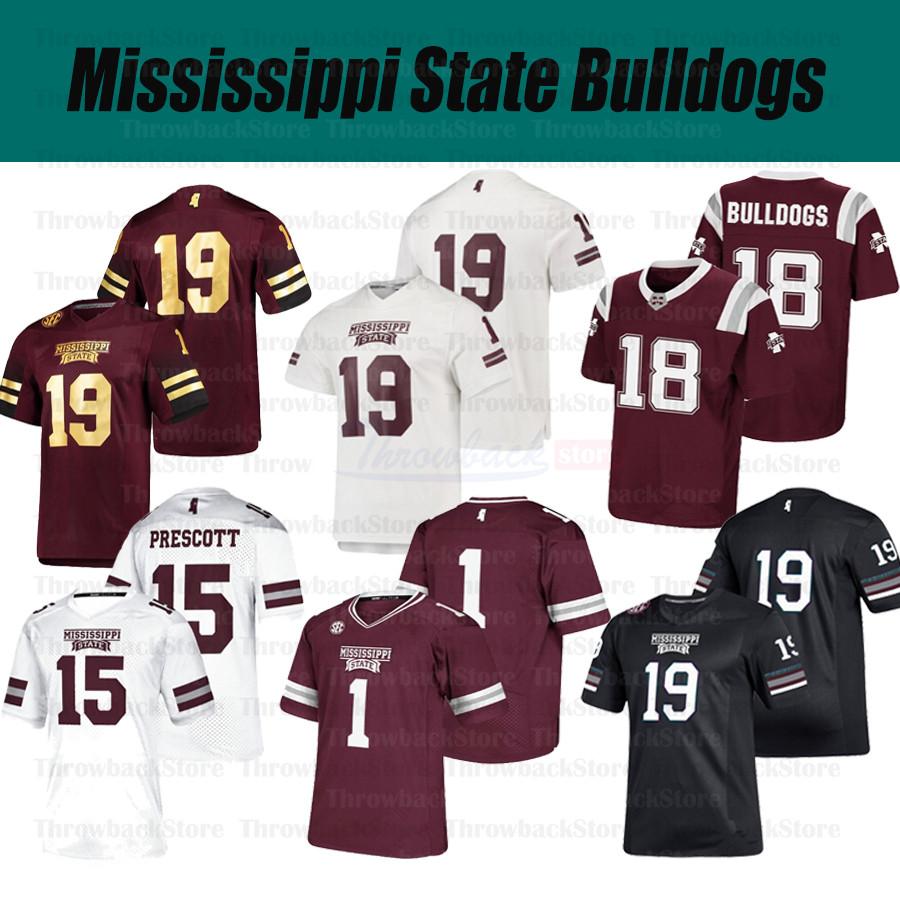 Custom Mississippi State Bulldogs College Football 6 Garrett Shrader 7 Stevens 15 Dak Prescott 9 Tyrell Shavers Jerseys