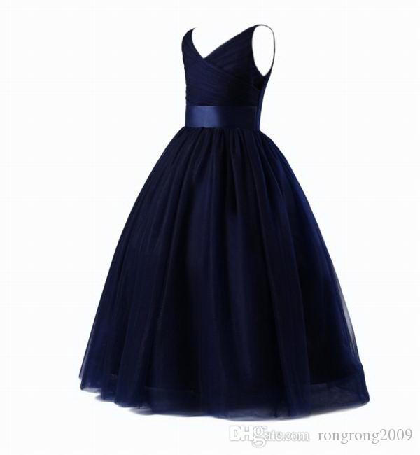 Flower Girl Navy Dress 2020 new Style Fluffy Ball Gown Performance Evening Dress Kids Clothes 4-14Y E9726