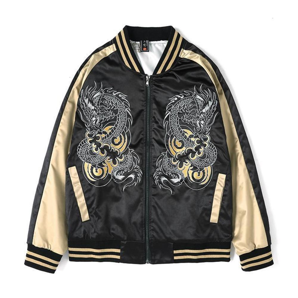 Men's Jacket Pattern Embroidered Stand Collar Tide Jacket Long Sleeve Loose Casual Fashion Men's Tide M-4XL