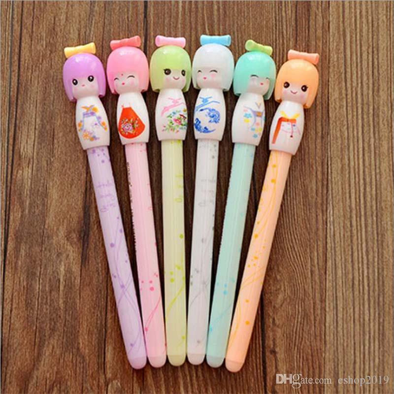 Hot!Wholesale Kimono Japanese Girl Doll Gel Pen Writing Signing Stationery Creative Gift School Office Supply