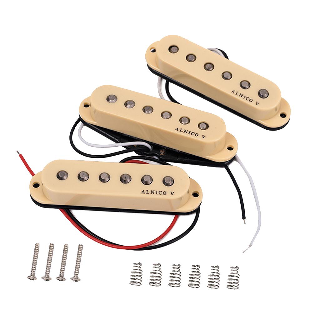 Alnico V Guitar Pickup Single Coil Humbucker Pickups Neck Middle Bridge Set for ST Beige