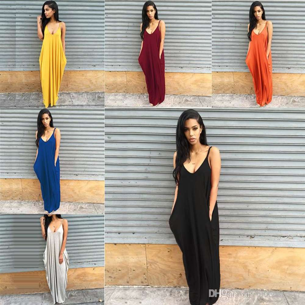Sexy Womens Maxi Dresses Female Spaghetti Strap Summer Deep V Neck Dresses with Pockets Solid Color Black Blue