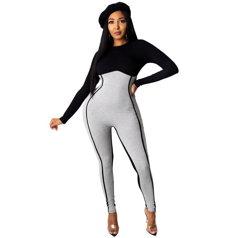 Panelled Womens Fashion Romper Casual Contrast Color Ladies Skinny Jumpsuits Sexy Crew Neck Designe Womens Clothes