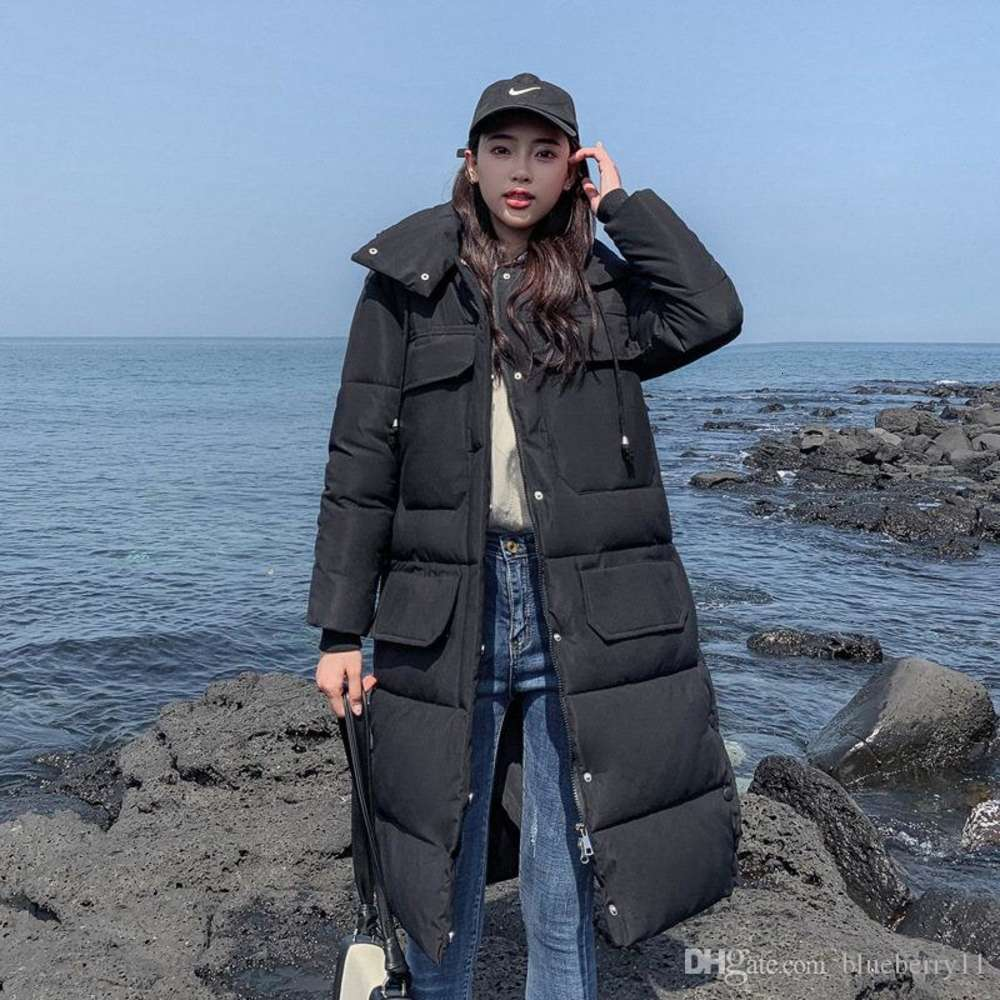 Winter Coat Women Fashion Outerwear Long Sleeve Hooded Jackets Cotton Padded Pockets Bandage Solid Coats Women Clothes