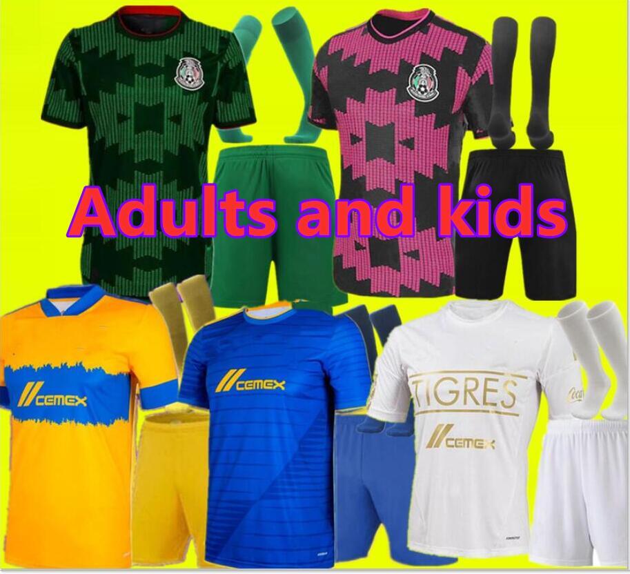 DHgate coupon: Adult kids kit 21 22 UANL Tigres 7 Stars goalkeeper Soccer Jerseys 2021 GIGNAC VARGAS Camiseta Maillot Home away Third Mexico Football Shirts