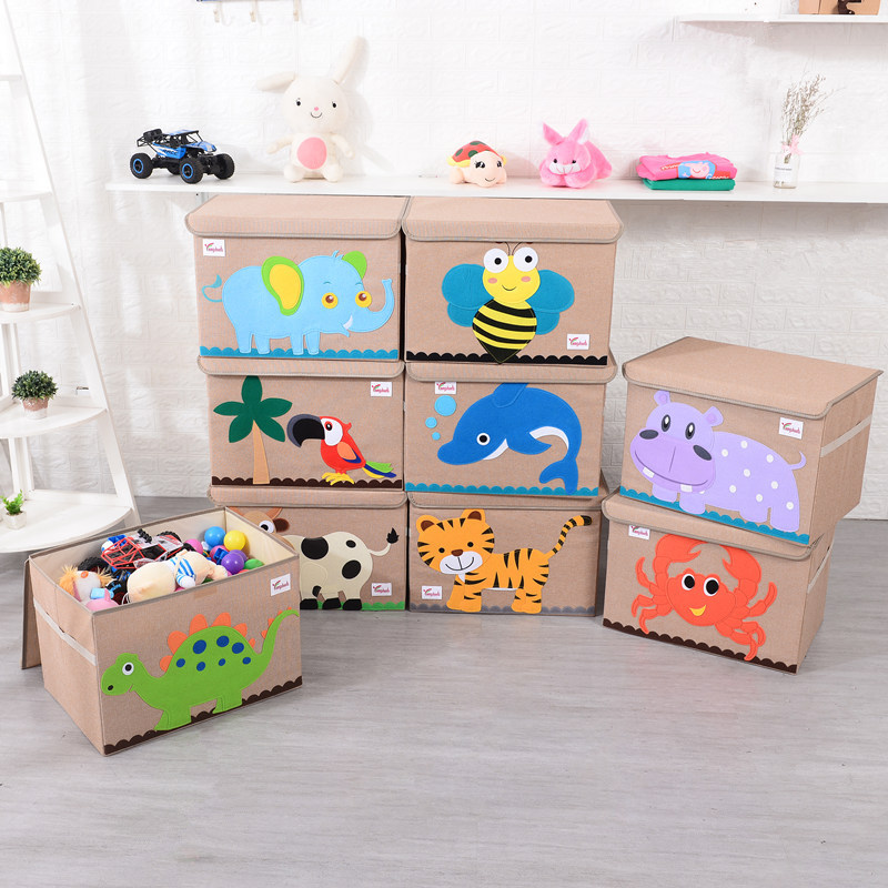 Folding Clothes Storage Box with Cover Children