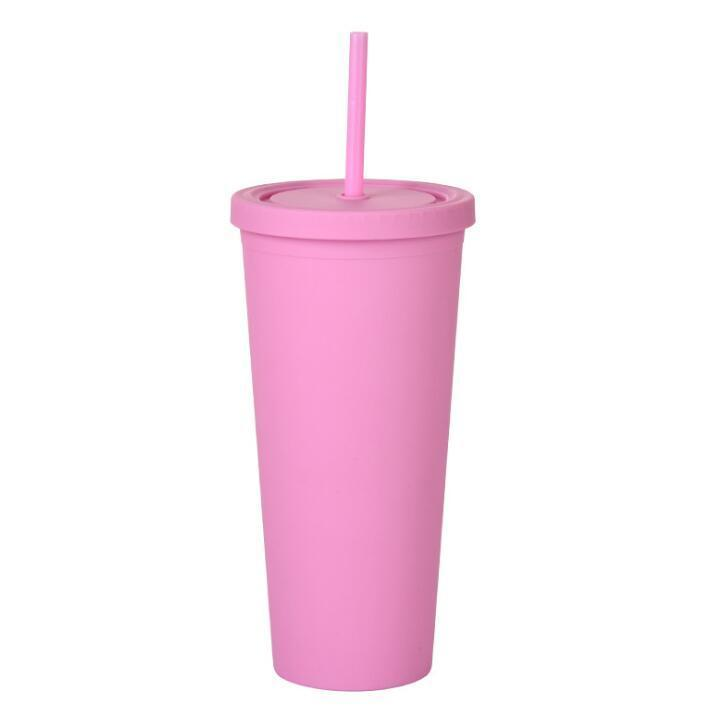 Hot 22oz Sippy Cups Tumbler Acrylic Cups Double Wall Insulated Matte Plastic Tumbler Sport Bottle With Cleaner Straws Customizable DIY Gift