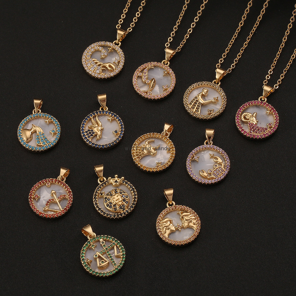 12 Zodiac Sign Necklace copper clavicle chain Leo Aries Pisces Pendants Charm star sign Choker Astrology Necklaces