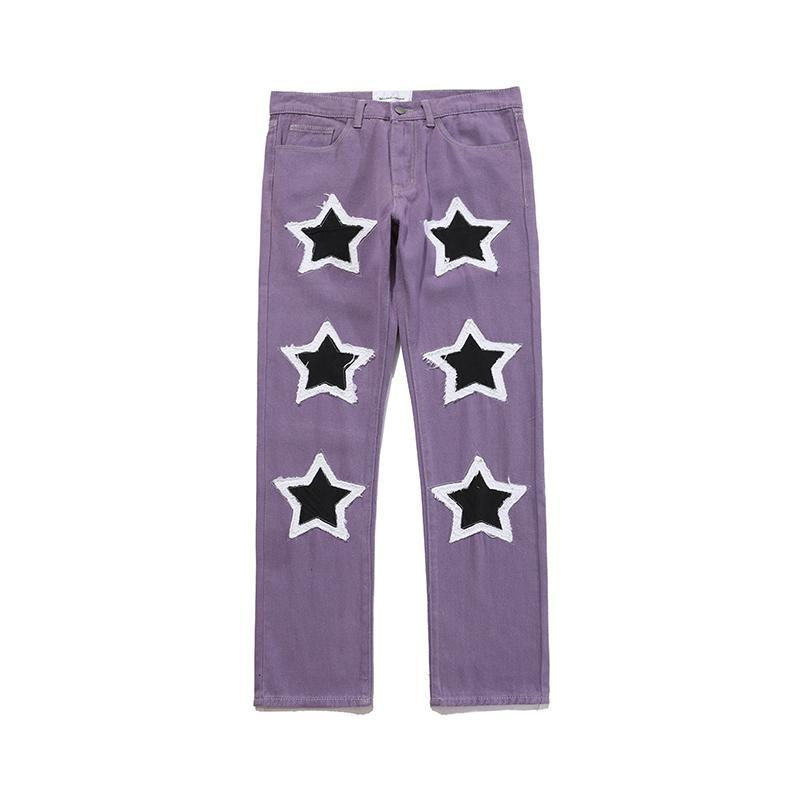 Embroidery Frayed Jeans Pants Men and Women Streetwear Washed Retro Casual Denim Trousers Hip Hop Casual Baggy Pants