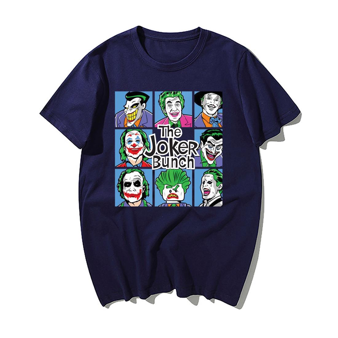 Funny Jokers T Shirt Men Fashion The Joker Bunch Print Tshirt Summer Hip Hop Tops Streetwear Casual Cotton Short Sleeve Tshirts