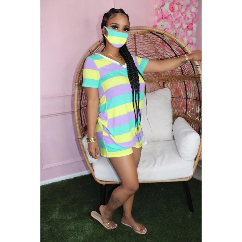 Women Outfits set with Face Mask Color stripes print t shirt shorts tracksuits summer clothes casual 2 two piece plus size clothing