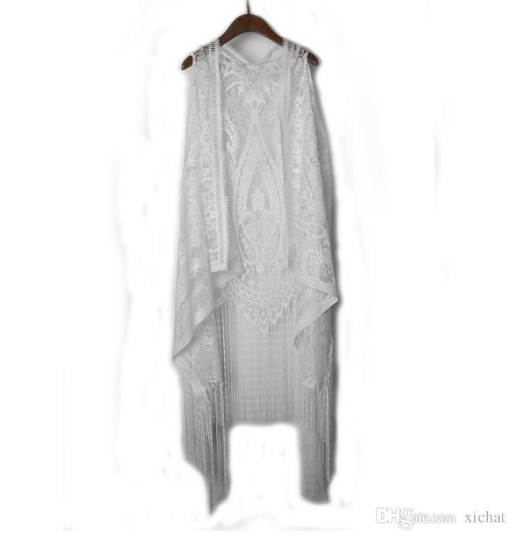 Women's Asymmettrical Cardigan Lace Vests white irregular tassels Beach Bikini Cover Ups Crochet Hollow Loose Sunscreen Sleeveless Cardigan