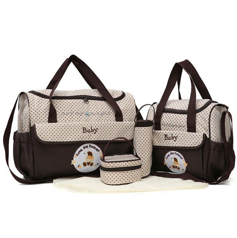 CROAL CHERIE 381830cm 5pcs Baby Diaper Bag Sets changing Nappy Bag For Mom Multifunction Stroller Tote Bag Organizer (12)