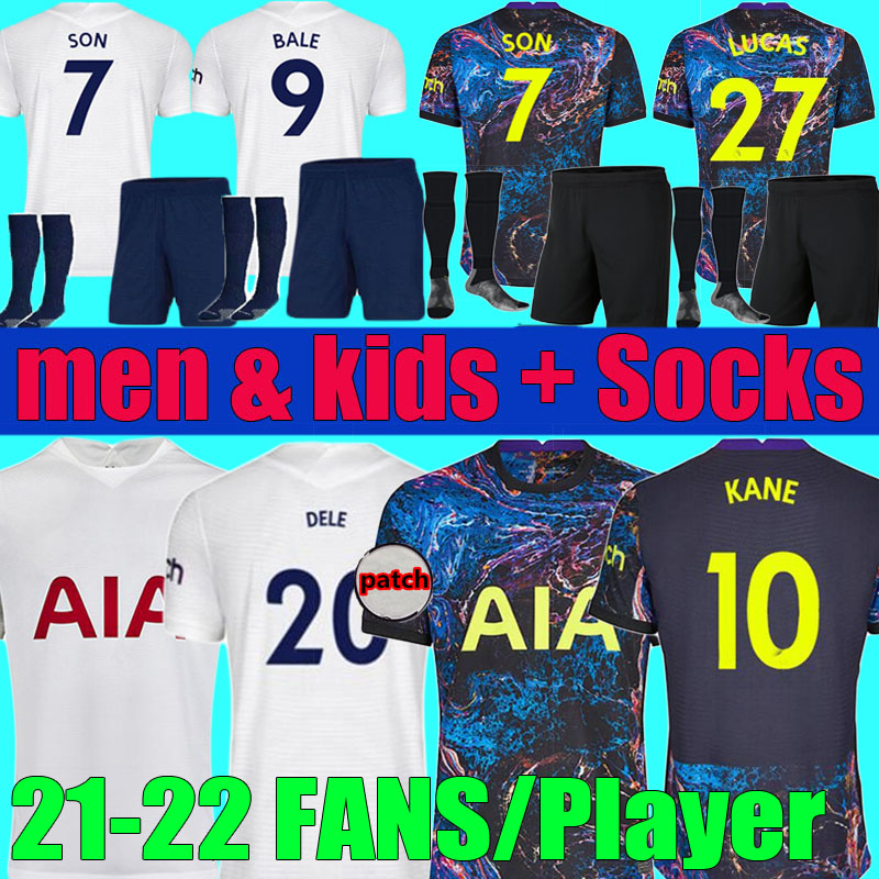 fans Player version 2021 2022 DELE SON TOTTENHAM BALE KANE soccer jersey men kids set 21 22 HOJBJERG BERGWIJN LO CELSO SPURS LUCAS football shirt kit Socks uniforms