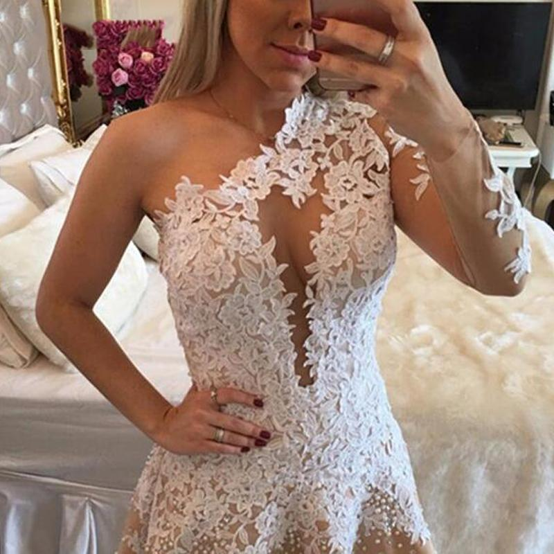 Stunning A Line One Shoulder Short Party Dress Sexy Backless Appliques Prom Homecoming Formal Special Occasion Custom Made