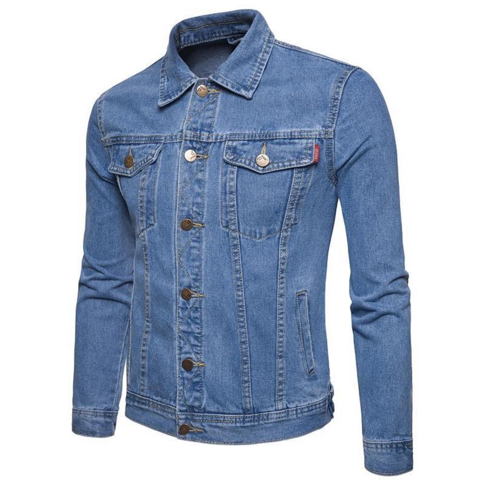 New four seasons youth British temperament slim fit men's designer denim jacket large solid color jacket