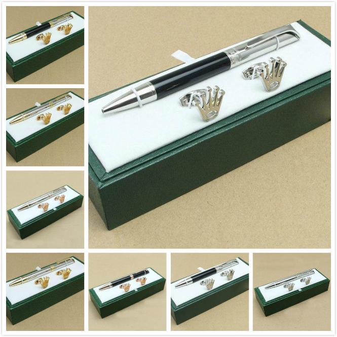 High quality good design Gift cufflink stationery supplies Oblique head Ballpoint Pen , cufflink , gift green box sets