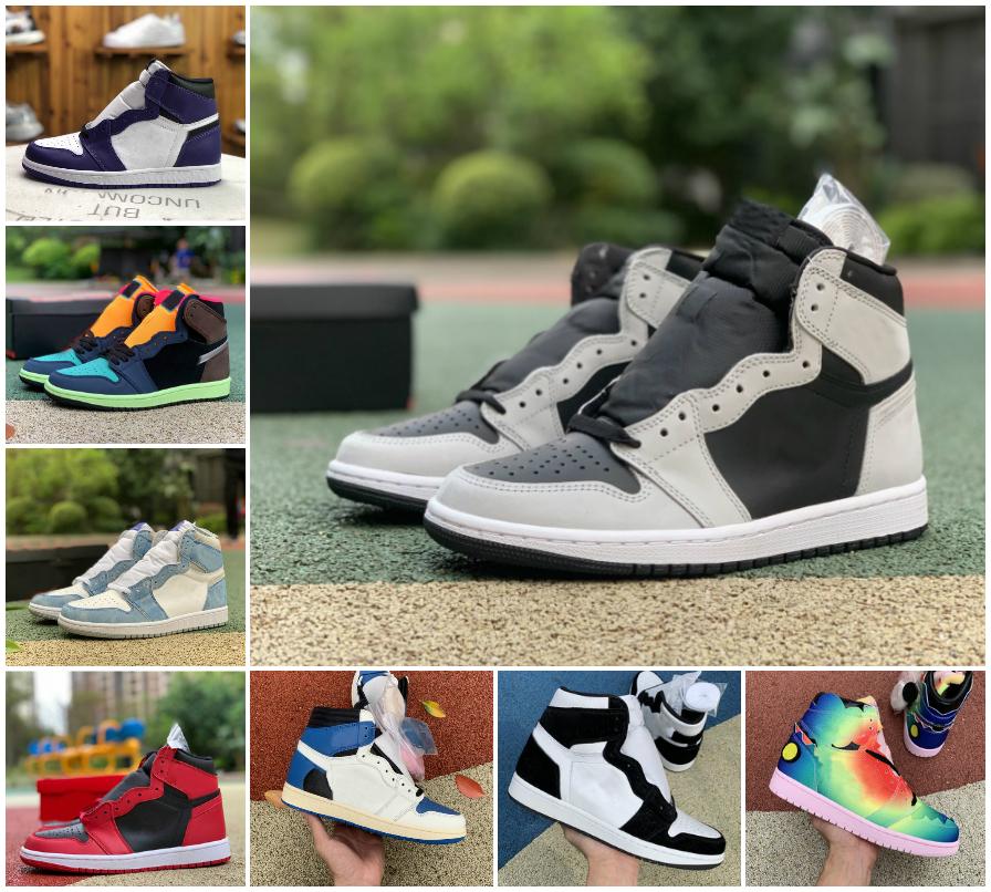 With Box 1s Mens Basketball Shoes 1 UNC Twist Dark Mocha University Blue Black High Court Purple Shadow Hyper Royal Women Sports Sneakers Trainers