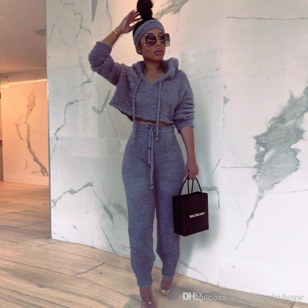 2019121625 Sexy Set Women 2019 Winter Casual Solid Streetwear Matching Sets Outfit Two Piece Set Elegant Female Pants