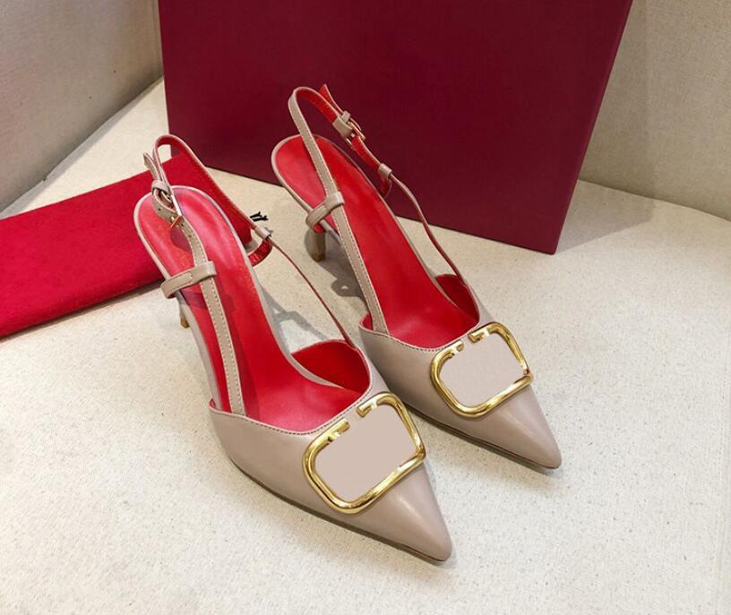 brand women high heel sandal 8cm thin heel red wedding shoes Genuine Leather metal V buckle Single shoes sexy pointed toe