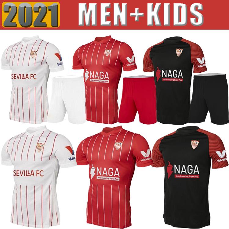 21 22 Sevilla FC soccer jersey LAMELA PAPU GOMEZ I.RAKITIC L.OCAMPOS DE JONG J.NAVAS SUSO MUNIR Y.EN-NESYRI 2021 2022 Men + Kids Kits football shirts