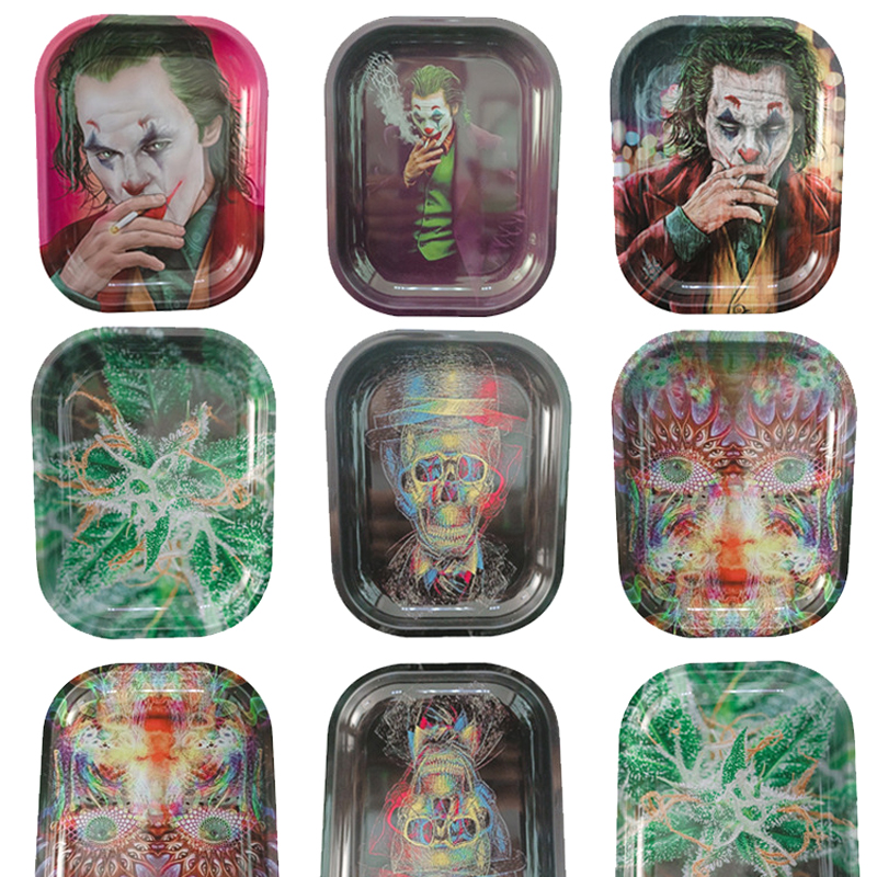 Custom Cigarette Rolling Trays Smoking Cartoon Tray 180mm*140mm Metal Tinplate Dry Herb Handroller Case for Tobacco water pipe Smoke Acessories