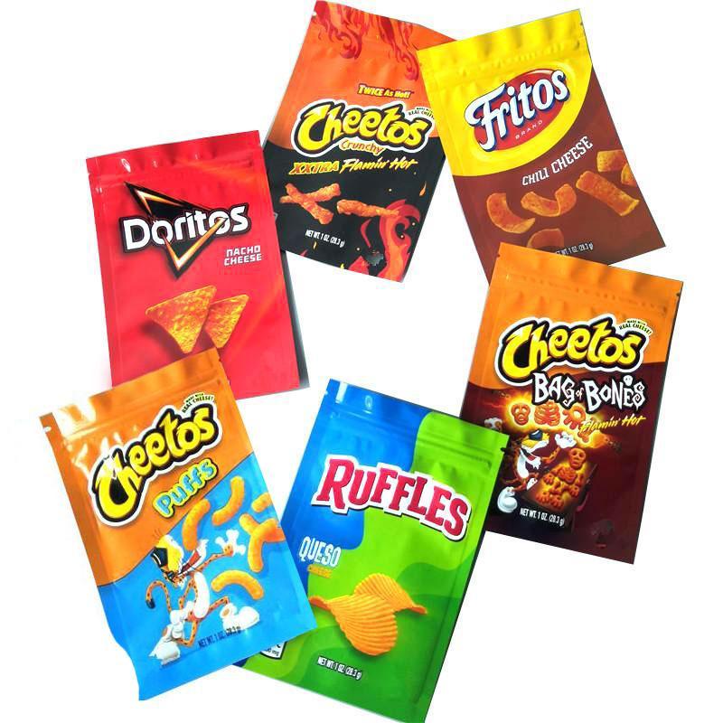 Hot TROLLI TRRLLI TRIPS DOWEEDOS MEDIBLES CHEETOS GENERAL SOUR BROWNIE BITES JOKER CARIBO WORMS MILES Baribo Bags Resealable Edibles Empty Mylar Packaging