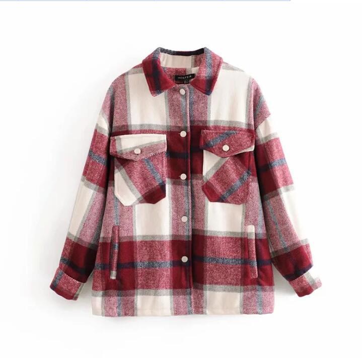 Plaid Jacket Vintage Stylish Pockets Oversized Jacket Coat Women 2020 Fashion Lapel Collar Long Sleeve Loose Outerwear Chic Tops