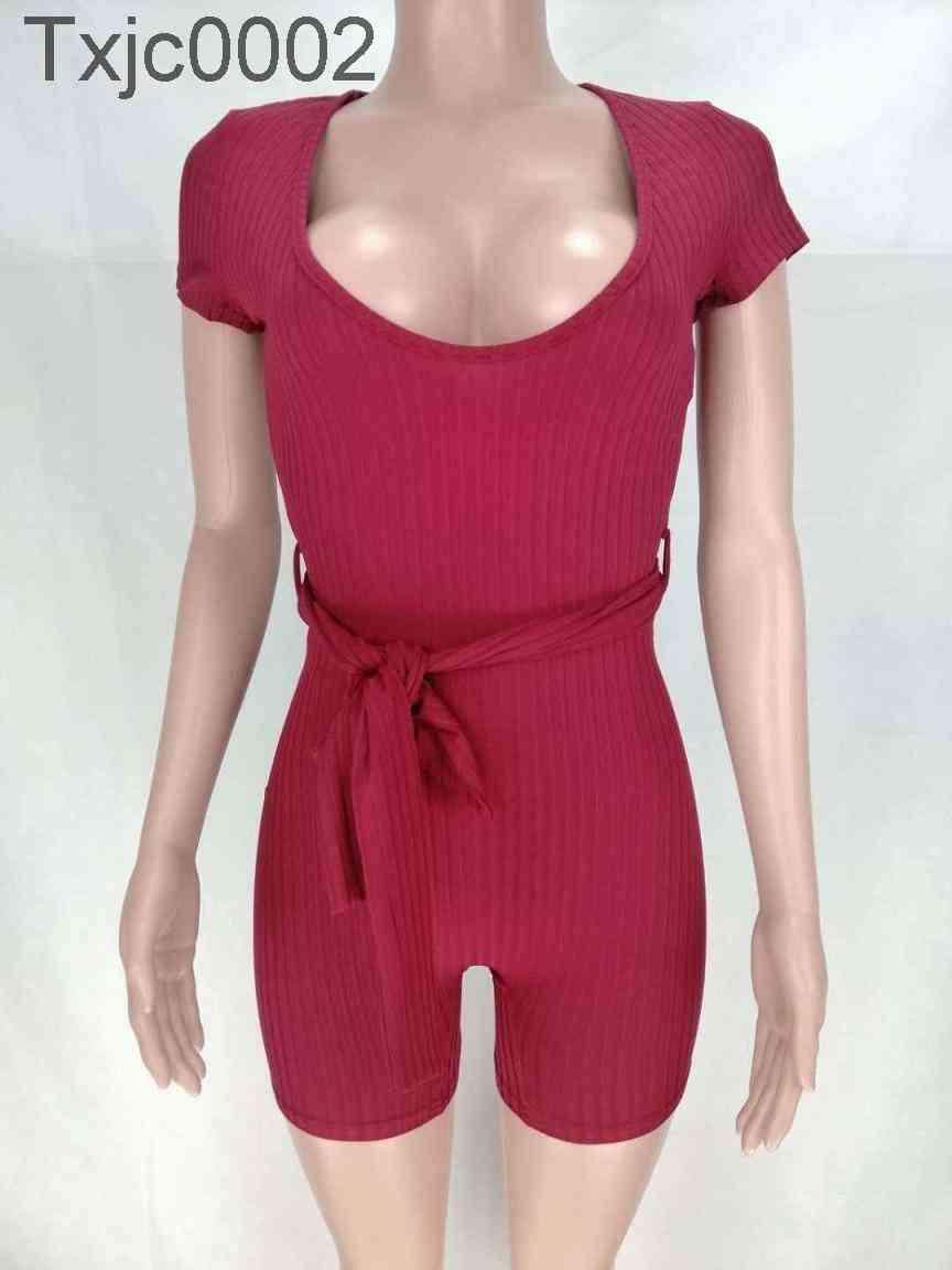 sexy women jumpsuits Deep V elastic strip with waistband rompers fashion skinny onesies bodysuits streetwear nightclub plus size clothing