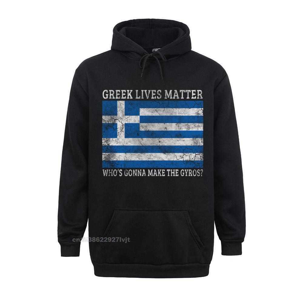 Printed Design Top T-shirts Funky Labor Day Short Sleeve O Neck Tops Shirt 100% Cotton Men Summer Top T-shirts Greek Lives Matter Whos Gonna Make The Gyros Greece Long Sleeve T-Shirt_355 black