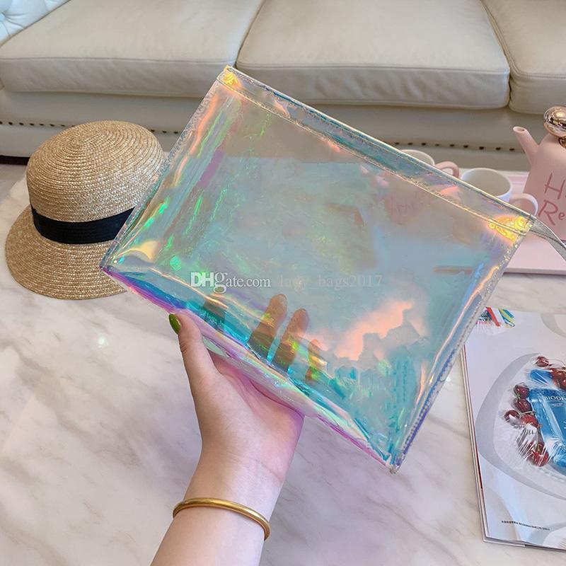 Dazzle Rainbow Men Women Clear Handbags Clutch Laser Flash PVC Clutches Handbags Transparent Duffle Bag Brilliant Colour Bag