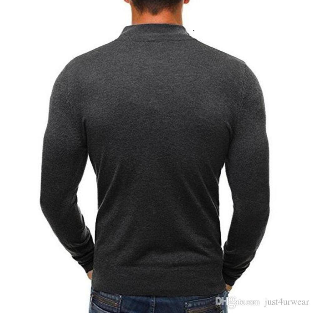 Mens Sweaters Solid Pullovers Casual Slim Fit Knitted Sweater Classic Zipper High Collar Male Warm Tops