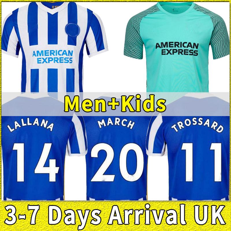 Brighton 2021 2022 Soccer Jerseys MOOY WEBSTER TROSSARD MAUPAY MARCH LALLANA Mac Allister 21 22 Home Away men kids suit set Blue Football Shirt Hove Albion