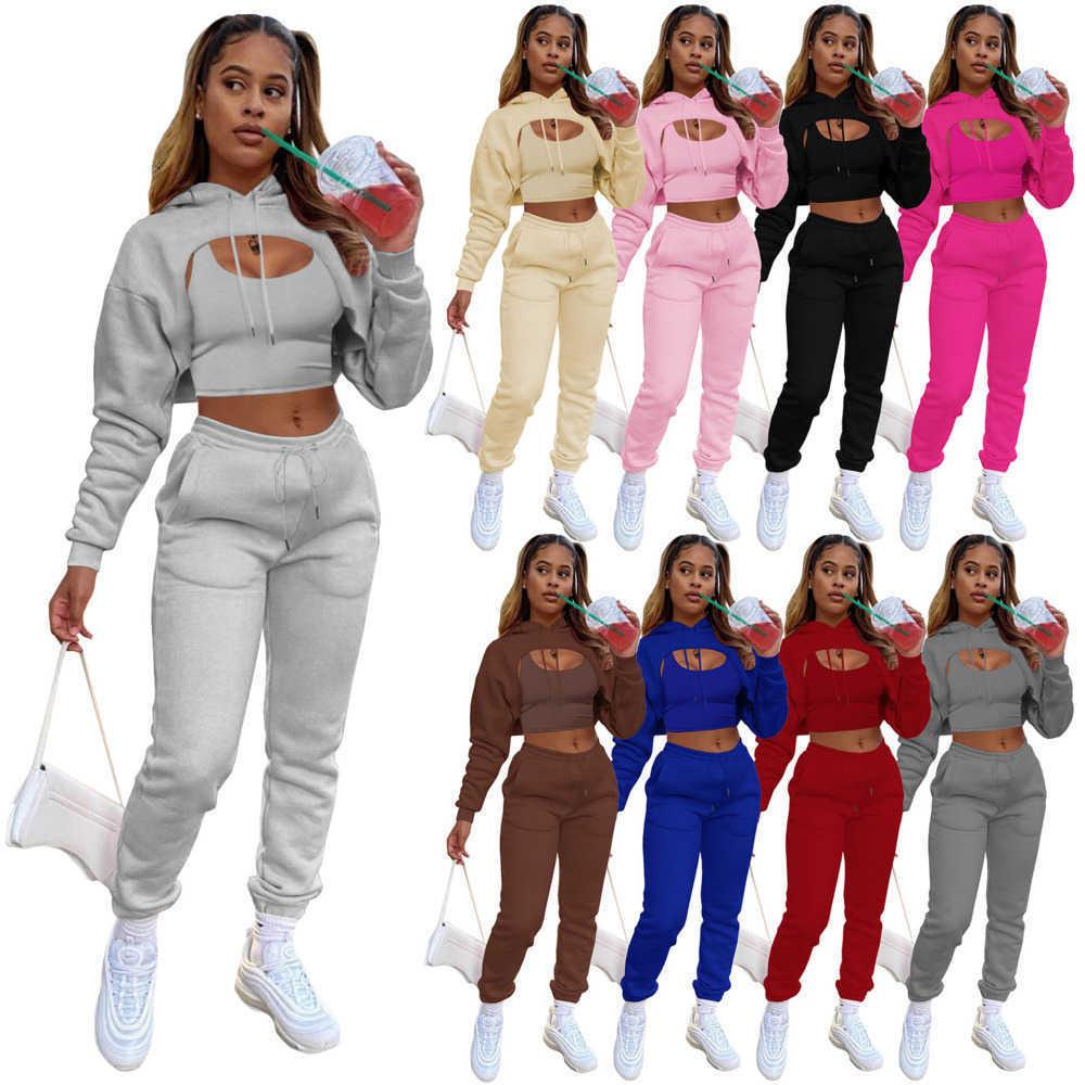 Woman Tracksuits Three Piece Suit Designer Drawstring Sweatpants And Hoodie Set Cotton Vest Jogging Pants Trousers Plus Size Clothes