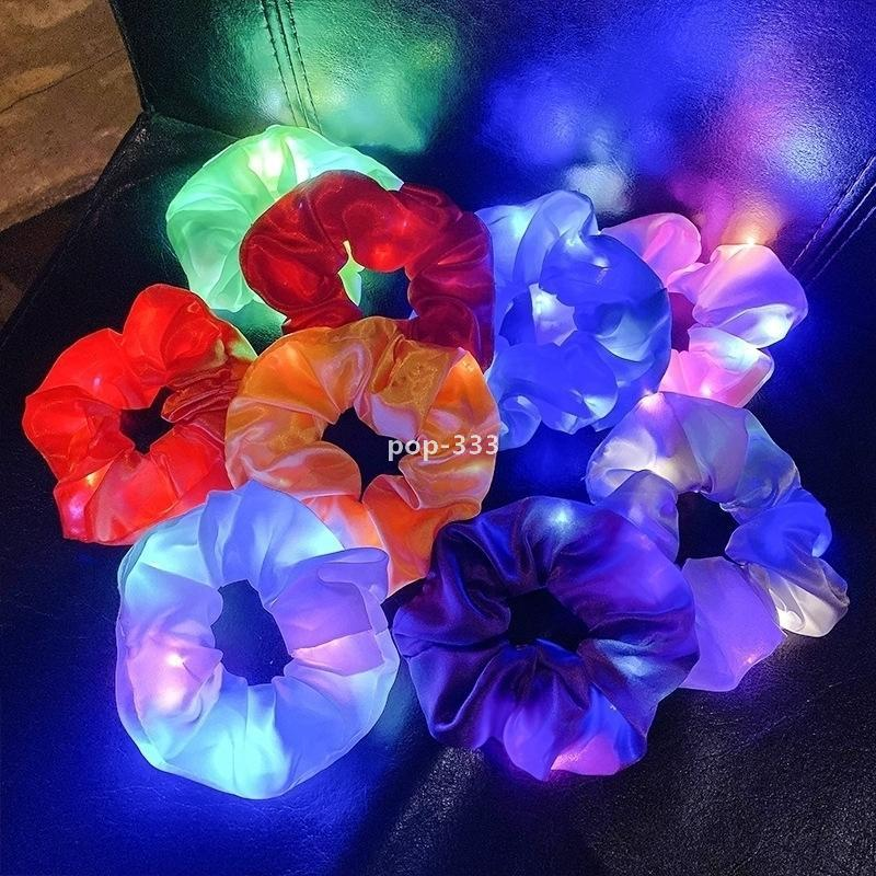 Luminous Scrunchies LED Hairband Ponytail Holder Headwear Women Girls Elastic Satin Silky Scrunchy Tie Rope Hair Accessories G21901