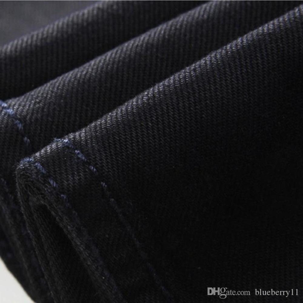 Jeans Men's Thin Washed Waist Black Straight Slim Men's Trousers Solid Color Tight Pencil Pants Casual